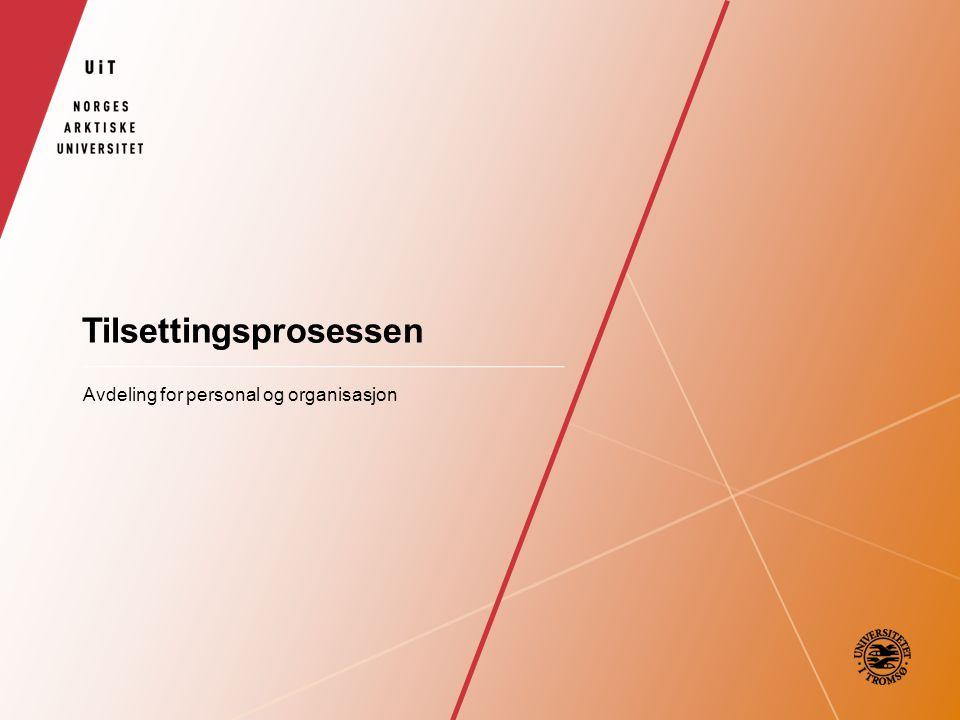 Tilsettingsprosessen Avdeling for personal og organisasjon