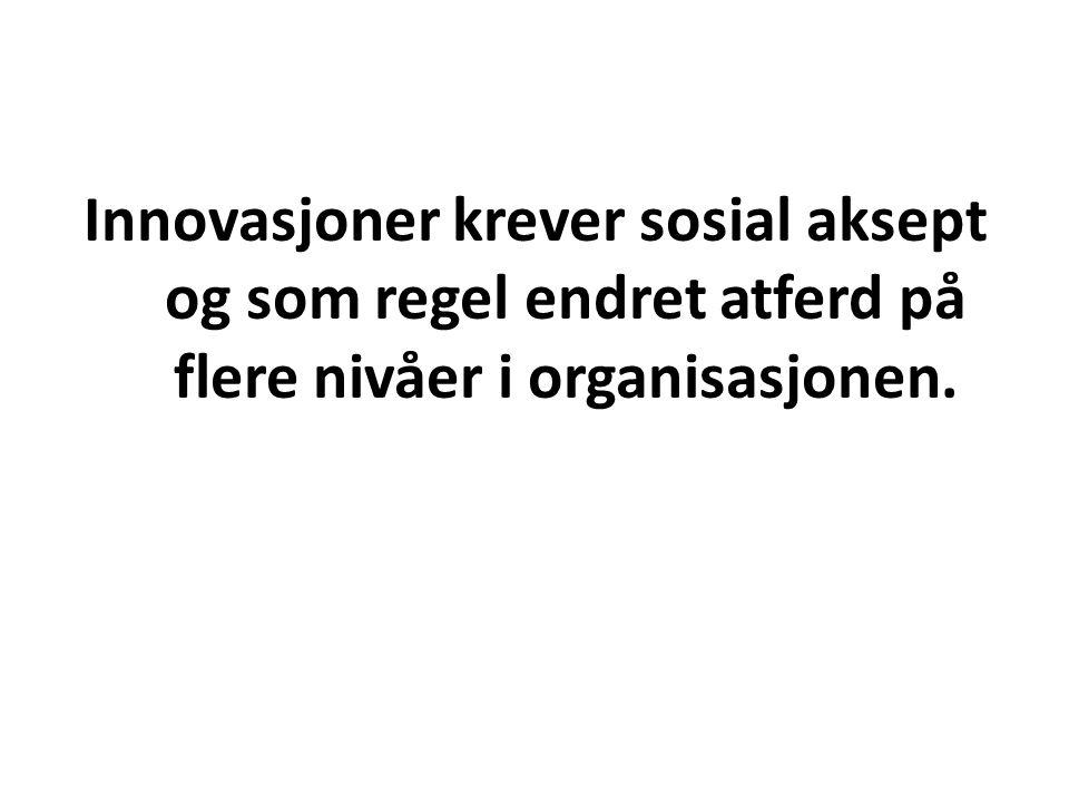 Innovasjoner krever sosial aksept og som regel endret atferd på flere nivåer i organisasjonen.