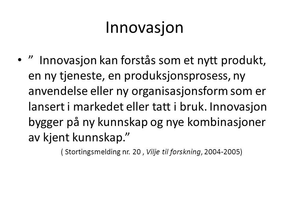Innovasjon Innovasjon kan forstås som et nytt produkt, en ny tjeneste, en produksjonsprosess, ny anvendelse eller ny organisasjonsform som er lansert i markedet eller tatt i bruk.