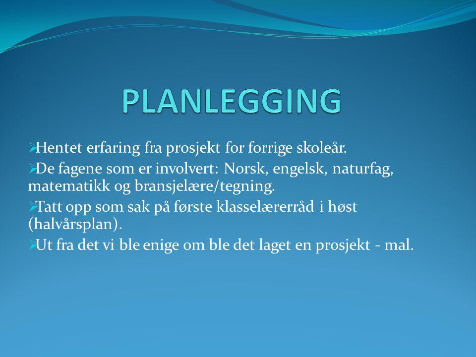  Hentet erfaring fra prosjekt for forrige skoleår.  De fagene som er involvert: Norsk, engelsk, naturfag, matematikk og bransjelære/tegning.  Tatt