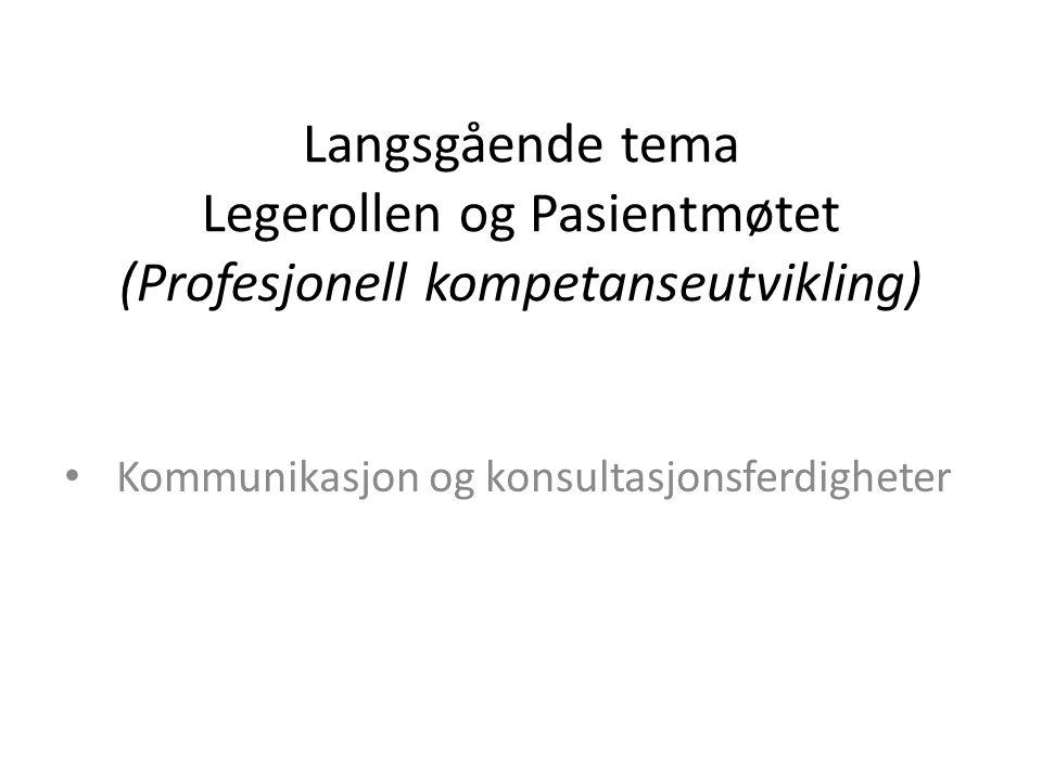 Langsgående tema Legerollen og Pasientmøtet (Profesjonell kompetanseutvikling) Kommunikasjon og konsultasjonsferdigheter