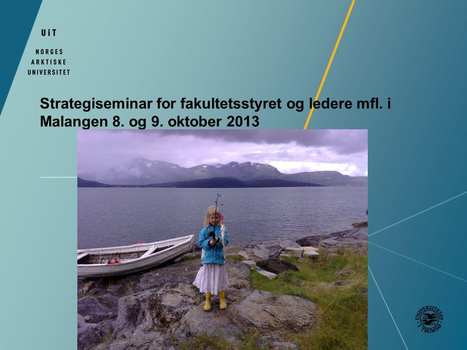 Strategiseminar for fakultetsstyret og ledere mfl. i Malangen 8. og 9. oktober 2013
