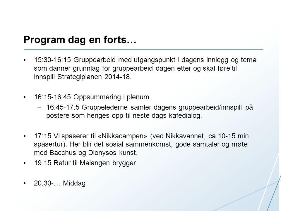 Program dag en forts… 15:30-16:15 Gruppearbeid med utgangspunkt i dagens innlegg og tema som danner grunnlag for gruppearbeid dagen etter og skal føre til innspill Strategiplanen 2014-18.