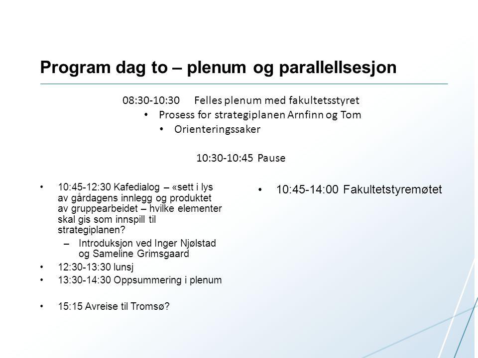 Program dag to – plenum og parallellsesjon 10:45-12:30 Kafedialog – «sett i lys av gårdagens innlegg og produktet av gruppearbeidet – hvilke elementer skal gis som innspill til strategiplanen.