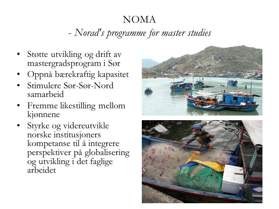 NOMA - Norad's programme for master studies Støtte utvikling og drift av mastergradsprogram i Sør Oppnå bærekraftig kapasitet Stimulere Sør-Sør-Nord s