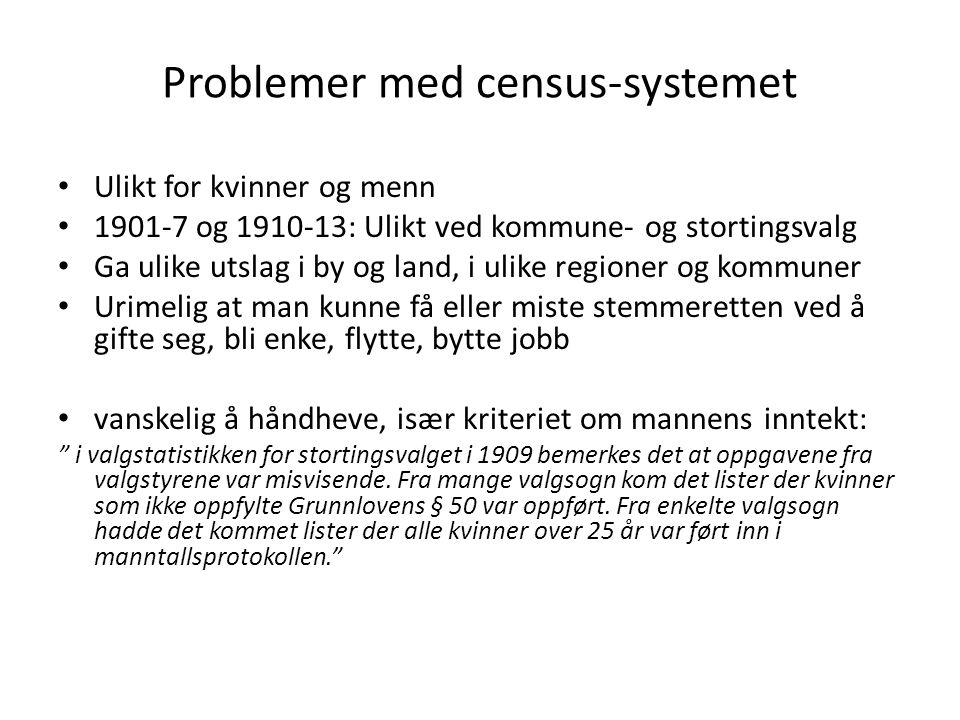Problemer med census-systemet Ulikt for kvinner og menn 1901-7 og 1910-13: Ulikt ved kommune- og stortingsvalg Ga ulike utslag i by og land, i ulike r
