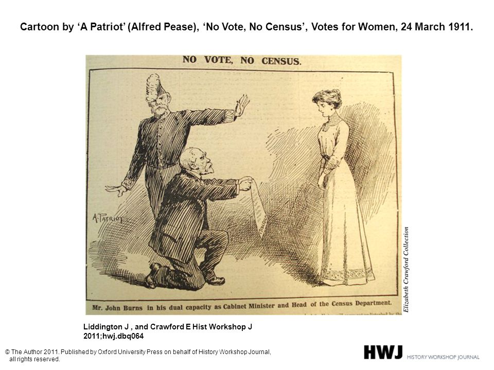 Cartoon by 'A Patriot' (Alfred Pease), 'No Vote, No Census', Votes for Women, 24 March 1911. Liddington J, and Crawford E Hist Workshop J 2011;hwj.dbq