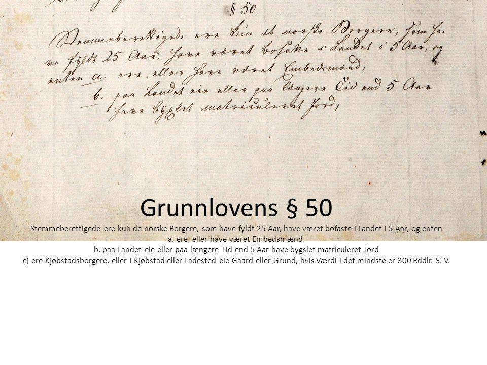 Grunnlovens § 50 Stemmeberettigede ere kun de norske Borgere, som have fyldt 25 Aar, have været bofaste i Landet i 5 Aar, og enten a.