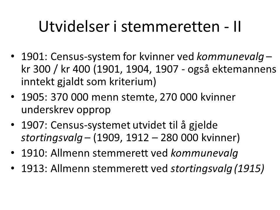 1901: Census-system for kvinner ved kommunevalg – kr 300 / kr 400 (1901, 1904, 1907 - også ektemannens inntekt gjaldt som kriterium) 1905: 370 000 menn stemte, 270 000 kvinner underskrev opprop 1907: Census-systemet utvidet til å gjelde stortingsvalg – (1909, 1912 – 280 000 kvinner) 1910: Allmenn stemmerett ved kommunevalg 1913: Allmenn stemmerett ved stortingsvalg (1915) Utvidelser i stemmeretten - II