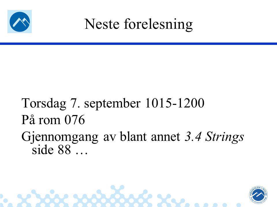 Jæger: Robuste og sikre systemer Neste forelesning Torsdag 7.