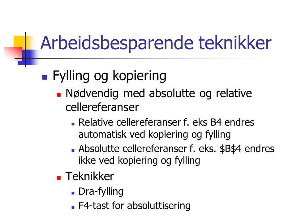 Arbeidsbesparende teknikker Fylling og kopiering Nødvendig med absolutte og relative cellereferanser Relative cellereferanser f. eks B4 endres automat