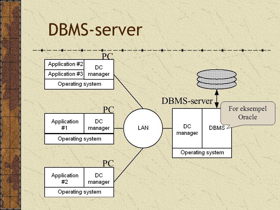 DBMS-server PC For eksempel Oracle
