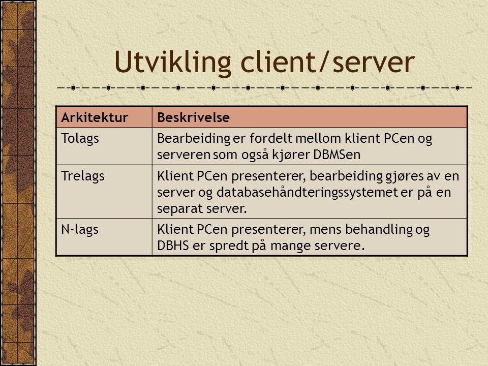 Utvikling client/server ArkitekturBeskrivelse TolagsBearbeiding er fordelt mellom klient PCen og serveren som også kjører DBMSen TrelagsKlient PCen pr