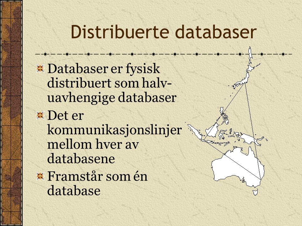 Distribuerte databaser Databaser er fysisk distribuert som halv- uavhengige databaser Det er kommunikasjonslinjer mellom hver av databasene Framstår s
