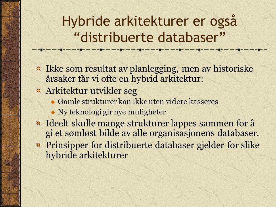 """Hybride arkitekturer er også """"distribuerte databaser"""" Ikke som resultat av planlegging, men av historiske årsaker får vi ofte en hybrid arkitektur: Ar"""