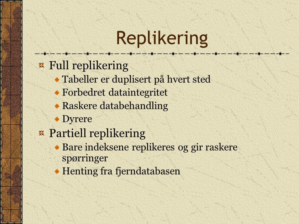 Replikering Full replikering Tabeller er duplisert på hvert sted Forbedret dataintegritet Raskere databehandling Dyrere Partiell replikering Bare inde