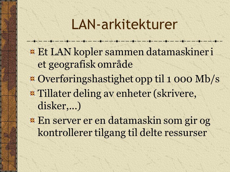 LAN-arkitekturer Et LAN kopler sammen datamaskiner i et geografisk område Overføringshastighet opp til 1 000 Mb/s Tillater deling av enheter (skrivere