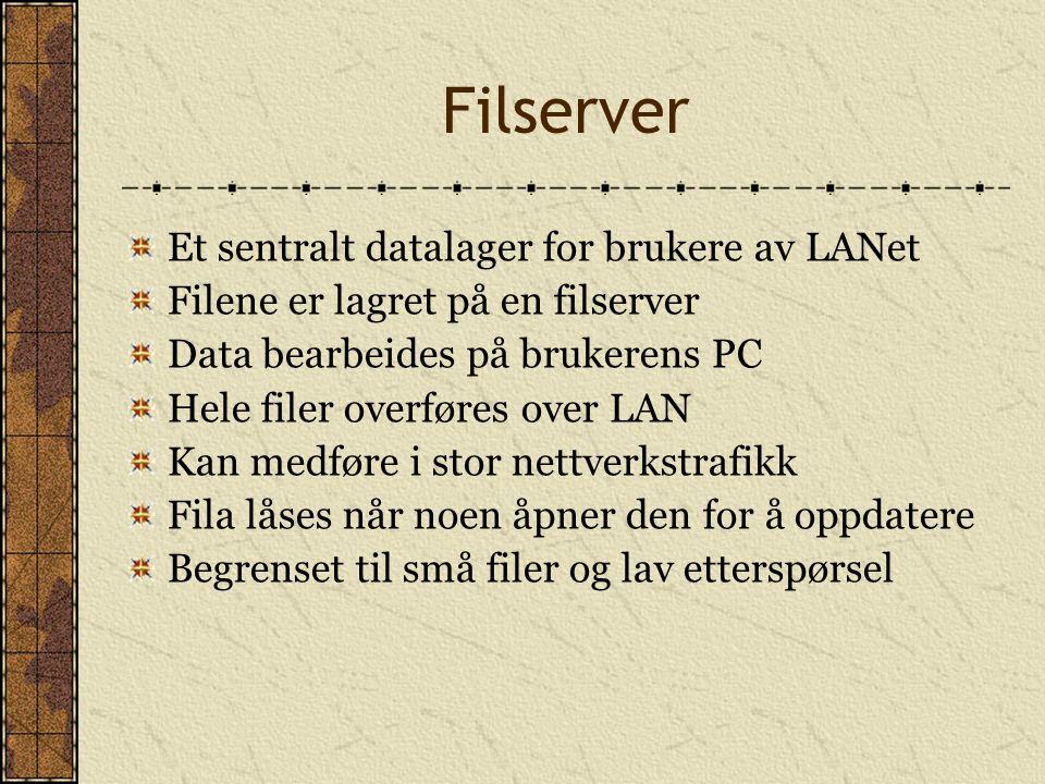 Filserver Et sentralt datalager for brukere av LANet Filene er lagret på en filserver Data bearbeides på brukerens PC Hele filer overføres over LAN Ka