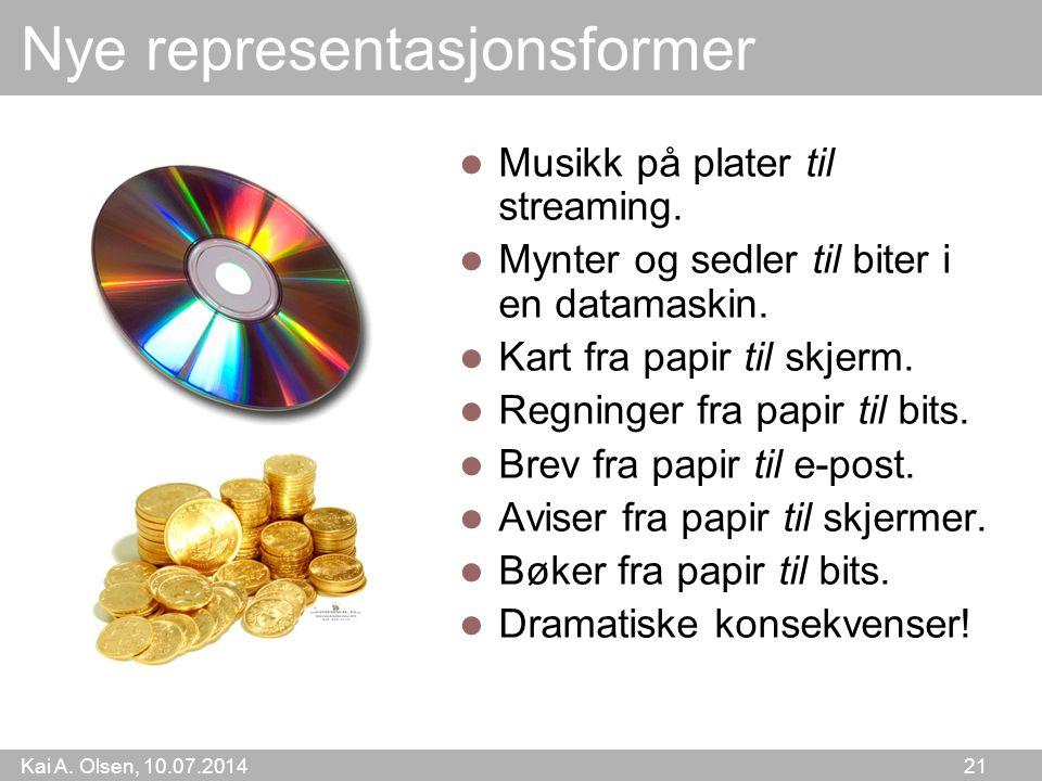 Kai A. Olsen, 10.07.2014 21 Nye representasjonsformer Musikk på plater til streaming. Mynter og sedler til biter i en datamaskin. Kart fra papir til s