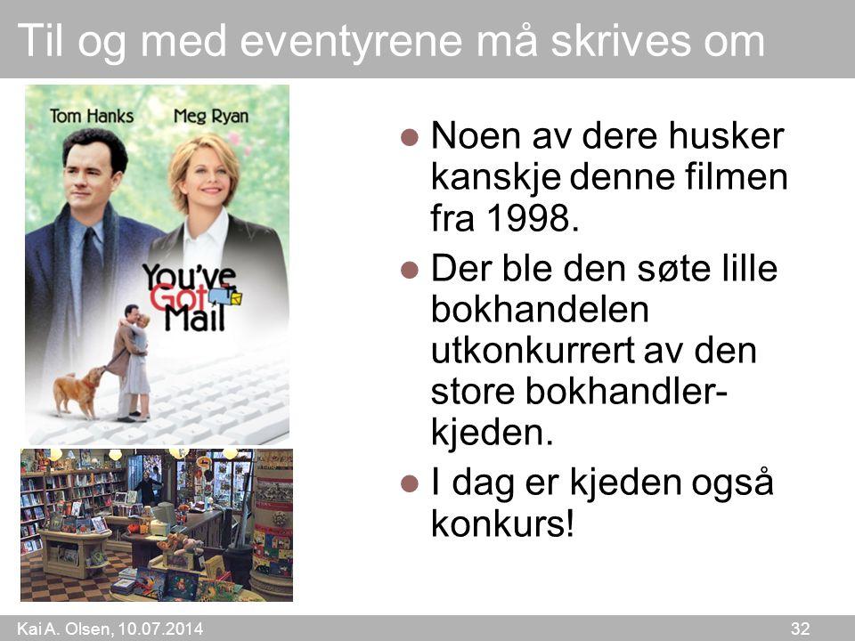 Kai A. Olsen, 10.07.2014 32 Til og med eventyrene må skrives om Noen av dere husker kanskje denne filmen fra 1998. Der ble den søte lille bokhandelen