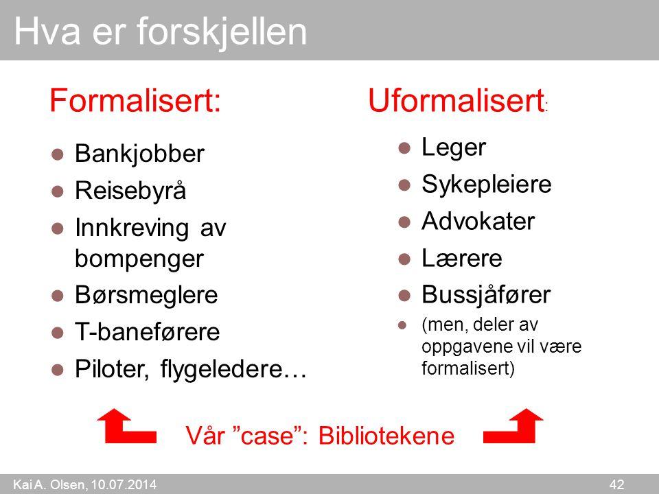 Kai A. Olsen, 10.07.2014 42 Hva er forskjellen Leger Sykepleiere Advokater Lærere Bussjåfører (men, deler av oppgavene vil være formalisert) Bankjobbe