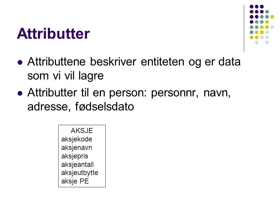 Attributter Attributtene beskriver entiteten og er data som vi vil lagre Attributter til en person: personnr, navn, adresse, fødselsdato AKSJE aksjeko