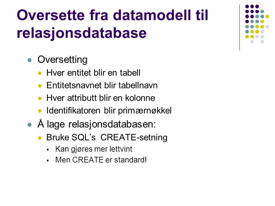 Oversette fra datamodell til relasjonsdatabase Oversetting Hver entitet blir en tabell Entitetsnavnet blir tabellnavn Hver attributt blir en kolonne I