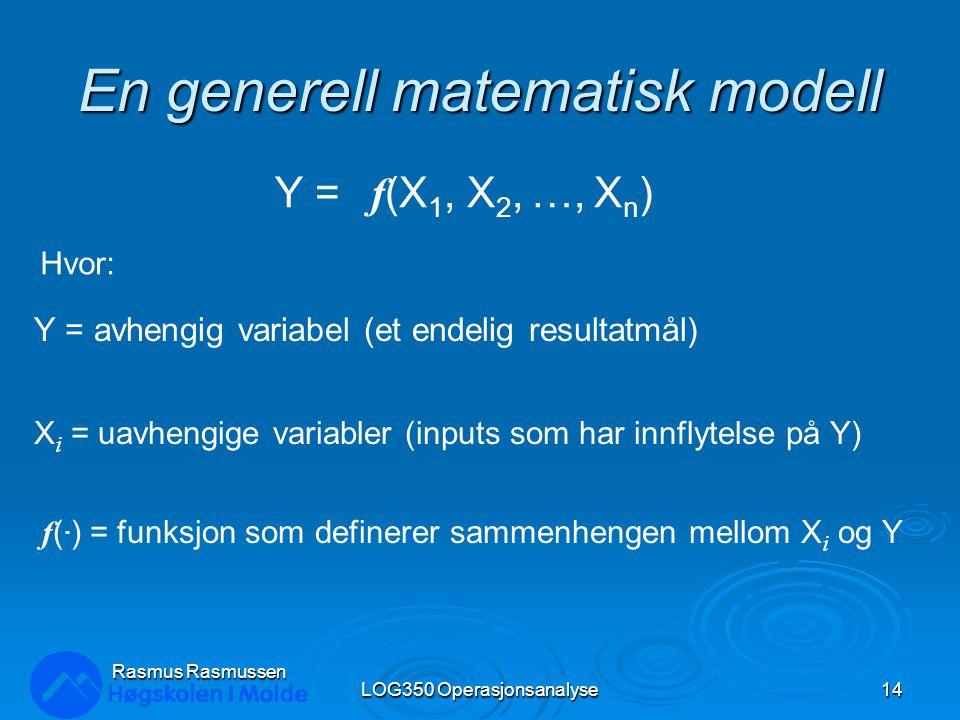 Rasmus Rasmussen LOG350 Operasjonsanalyse14 En generell matematisk modell Y = f (X 1, X 2, …, X n ) Y = avhengig variabel (et endelig resultatmål) X i