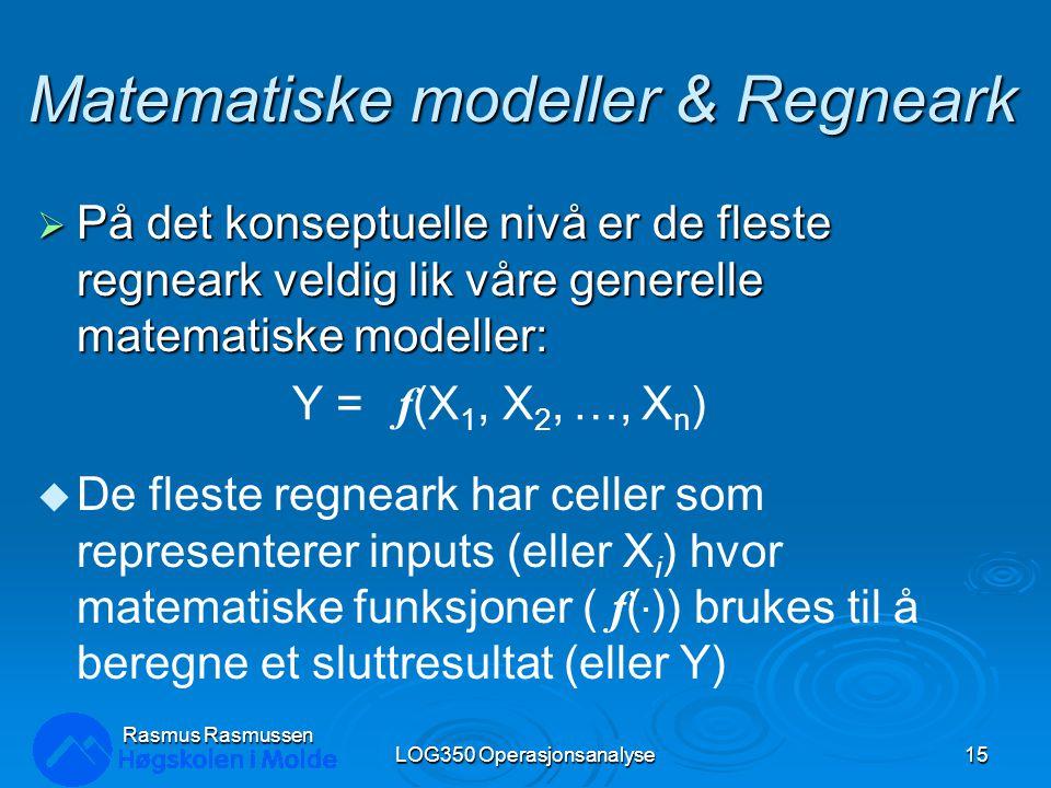 Rasmus Rasmussen LOG350 Operasjonsanalyse15 Matematiske modeller & Regneark  På det konseptuelle nivå er de fleste regneark veldig lik våre generelle
