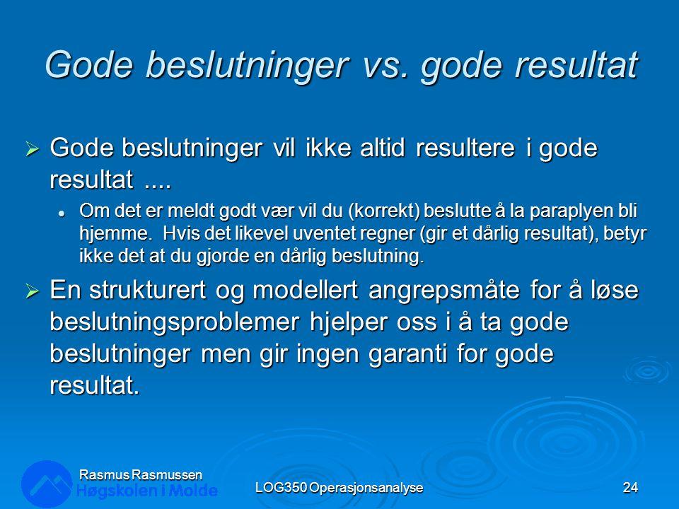 Rasmus Rasmussen LOG350 Operasjonsanalyse24 Gode beslutninger vs. gode resultat  Gode beslutninger vil ikke altid resultere i gode resultat.... Om de