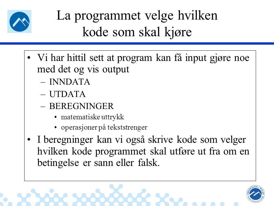 Jæger: Robuste og sikre systemer La programmet velge hvilken kode som skal kjøre Vi har hittil sett at program kan få input gjøre noe med det og vis o