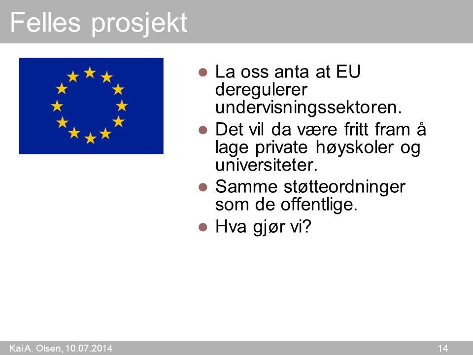 Kai A. Olsen, 10.07.2014 14 Felles prosjekt La oss anta at EU deregulerer undervisningssektoren. Det vil da være fritt fram å lage private høyskoler o