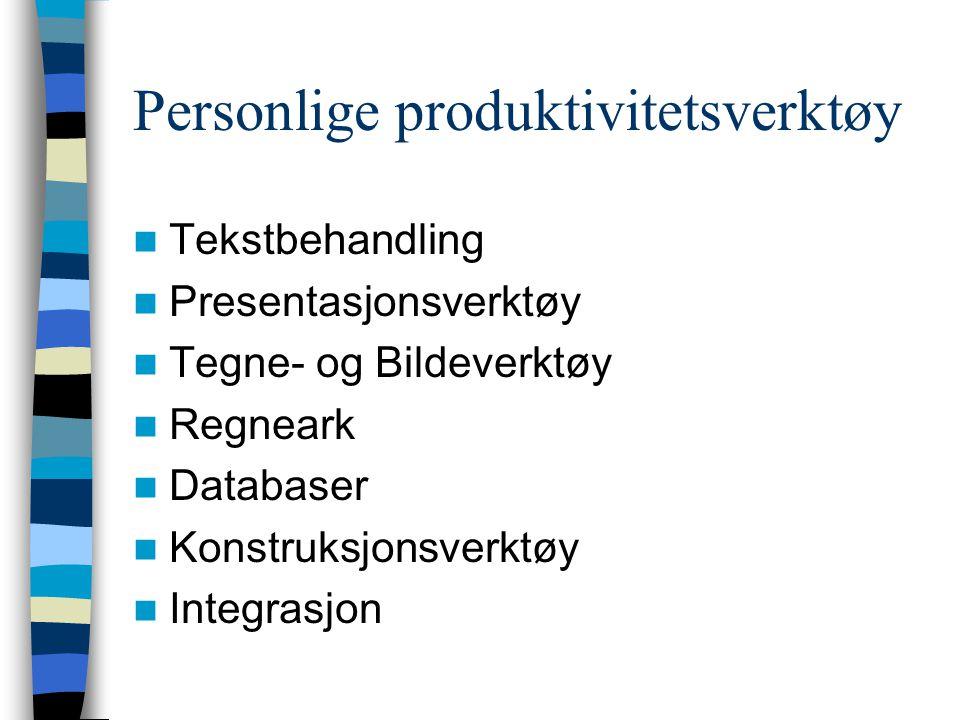 Personlige produktivitetsverktøy Tekstbehandling Presentasjonsverktøy Tegne- og Bildeverktøy Regneark Databaser Konstruksjonsverktøy Integrasjon