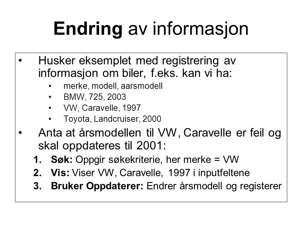 Endring av informasjon Husker eksemplet med registrering av informasjon om biler, f.eks.