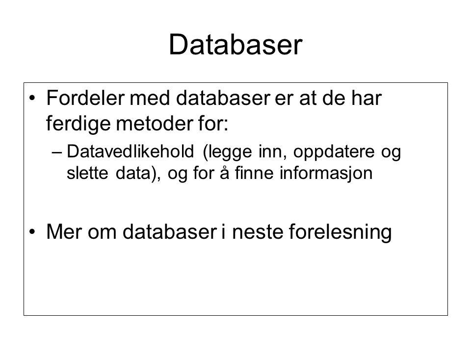 Databaser Fordeler med databaser er at de har ferdige metoder for: –Datavedlikehold (legge inn, oppdatere og slette data), og for å finne informasjon Mer om databaser i neste forelesning