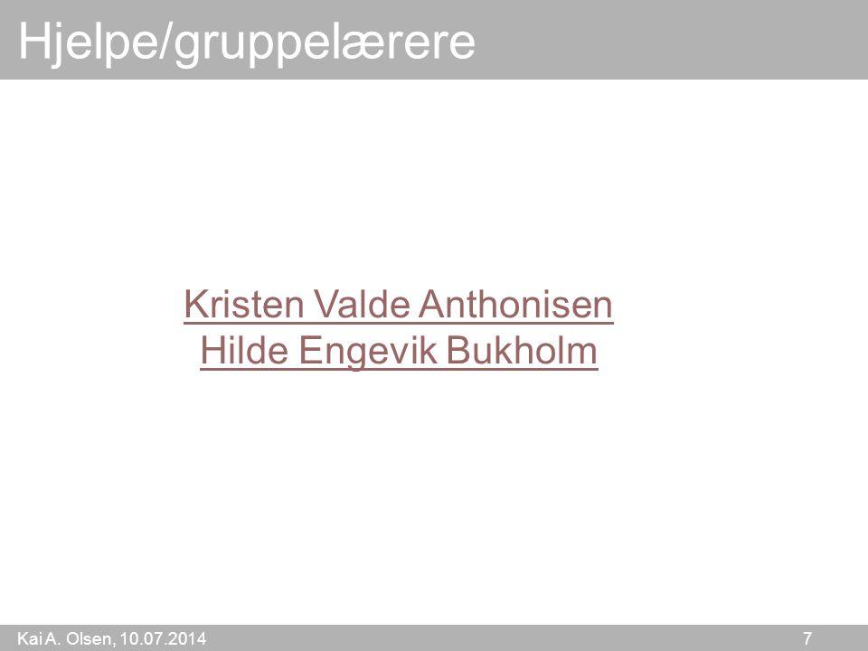 Kai A. Olsen, 10.07.2014 7 Hjelpe/gruppelærere Kristen Valde Anthonisen Hilde Engevik Bukholm