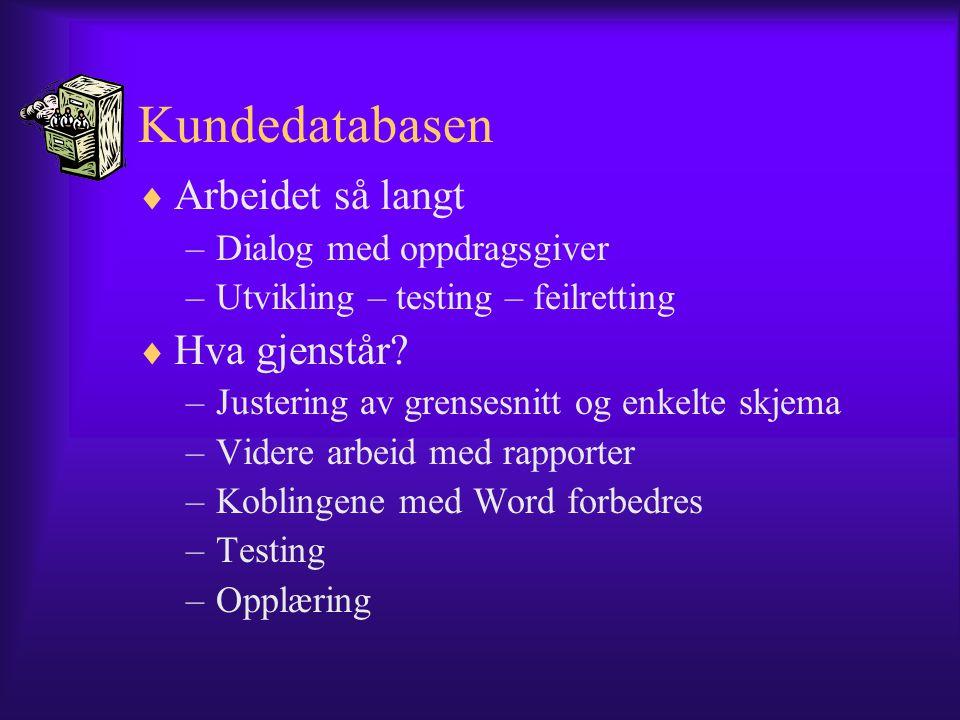 Kundedatabasen  Arbeidet så langt –Dialog med oppdragsgiver –Utvikling – testing – feilretting  Hva gjenstår? –Justering av grensesnitt og enkelte s