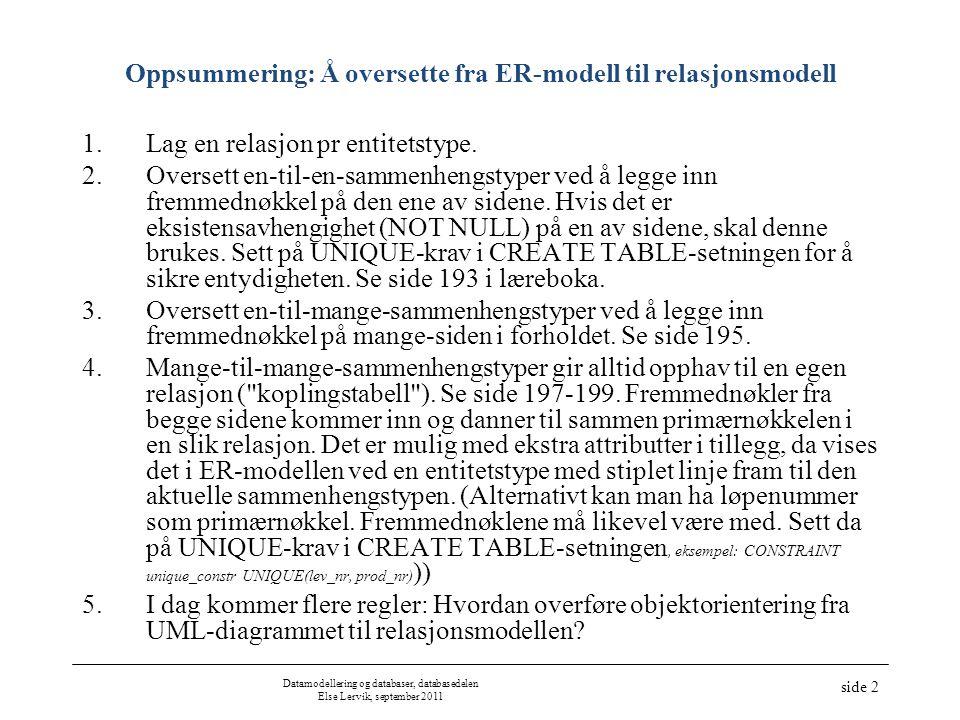 Datamodellering og databaser, databasedelen Else Lervik, september 2011 side 2 Oppsummering: Å oversette fra ER-modell til relasjonsmodell 1.Lag en relasjon pr entitetstype.
