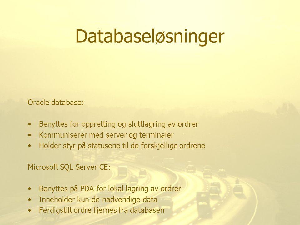 Databaseløsninger Oracle database: Benyttes for oppretting og sluttlagring av ordrer Kommuniserer med server og terminaler Holder styr på statusene ti