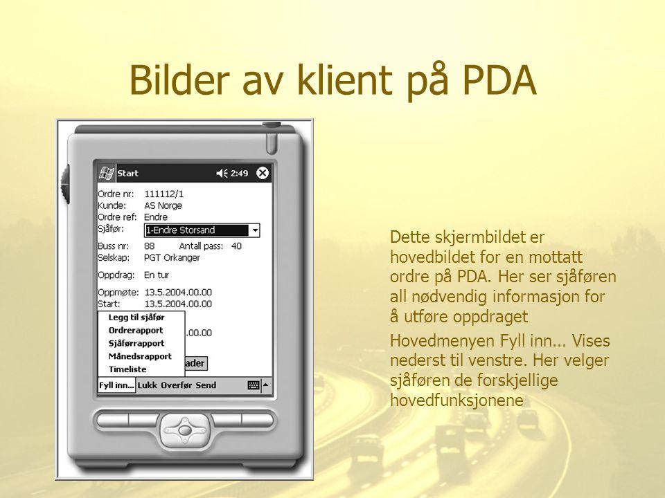 Bilder av klient på PDA Dette skjermbildet er hovedbildet for en mottatt ordre på PDA. Her ser sjåføren all nødvendig informasjon for å utføre oppdrag