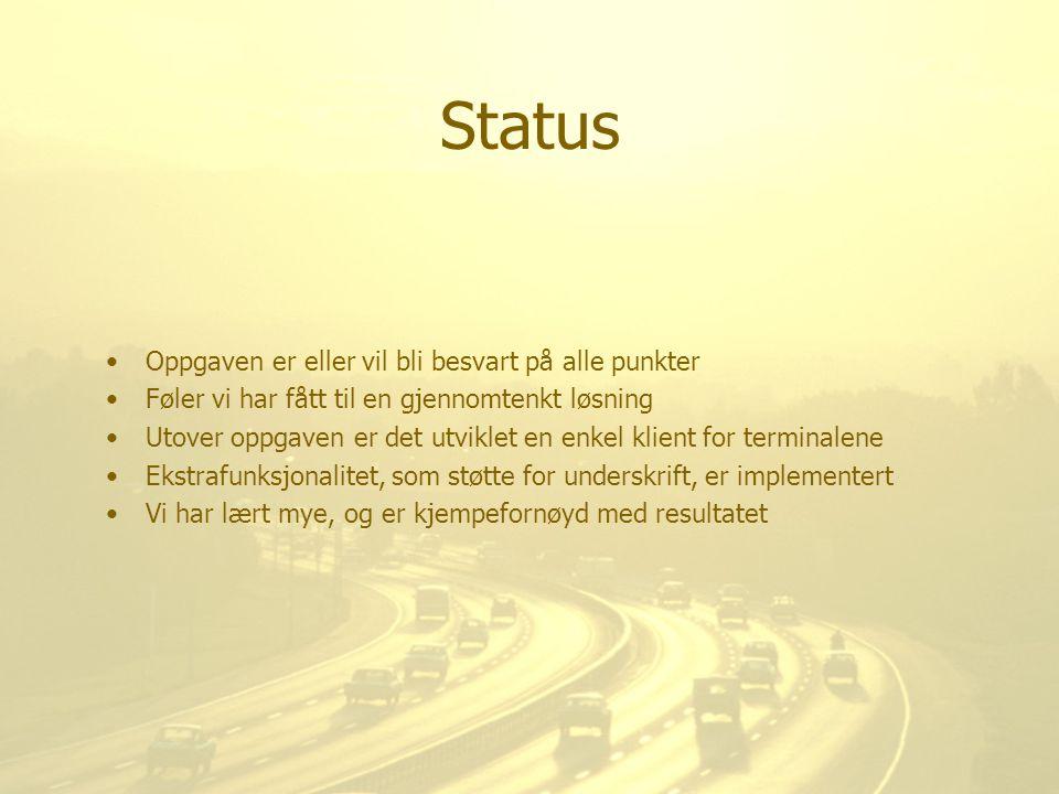 Status Oppgaven er eller vil bli besvart på alle punkter Føler vi har fått til en gjennomtenkt løsning Utover oppgaven er det utviklet en enkel klient