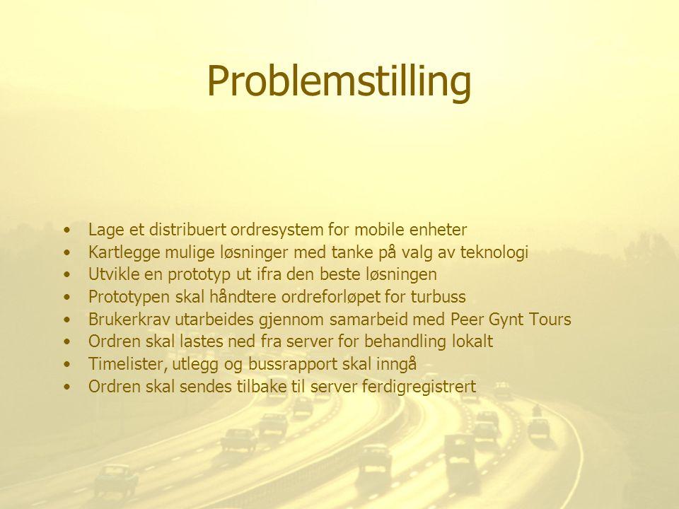 Problemstilling Lage et distribuert ordresystem for mobile enheter Kartlegge mulige løsninger med tanke på valg av teknologi Utvikle en prototyp ut if