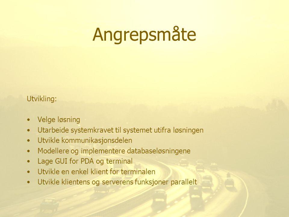 Angrepsmåte Utvikling: Velge løsning Utarbeide systemkravet til systemet utifra løsningen Utvikle kommunikasjonsdelen Modellere og implementere databa
