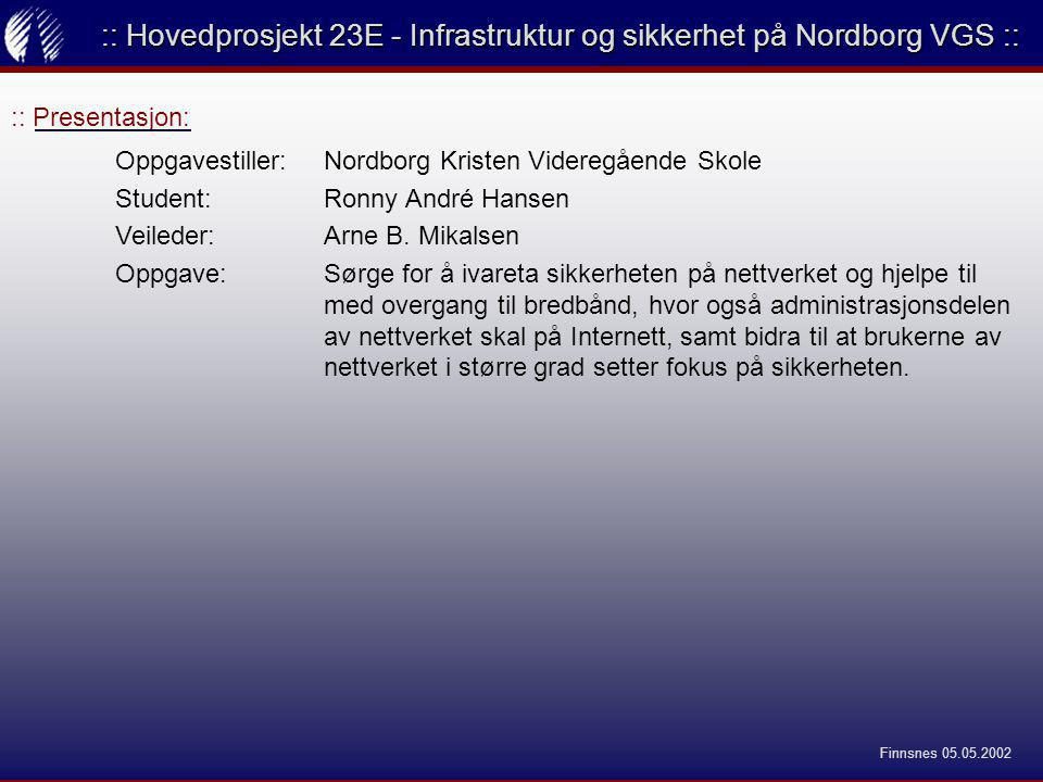 :: Presentasjon: :: Hovedprosjekt 23E - Infrastruktur og sikkerhet på Nordborg VGS :: Oppgavestiller: Nordborg Kristen Videregående Skole Student:Ronny André Hansen Veileder:Arne B.