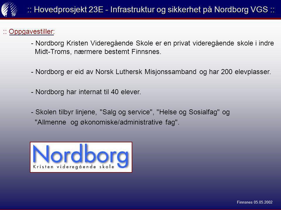 :: Oppgavestiller: :: Hovedprosjekt 23E - Infrastruktur og sikkerhet på Nordborg VGS :: - Nordborg Kristen Videregående Skole er en privat videregående skole i indre Midt-Troms, nærmere bestemt Finnsnes.