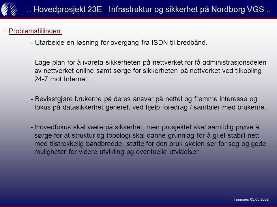 :: Valget: :: Hovedprosjekt 23E - Infrastruktur og sikkerhet på Nordborg VGS :: - Jeg er svært interessert i sikkerhet på nettverk og sikkerhet er en av de tingene jeg ønsker mest å holde på med i mitt arbeide fremover så da dette var det primære innholdet i oppgaven passet det meg perfekt.