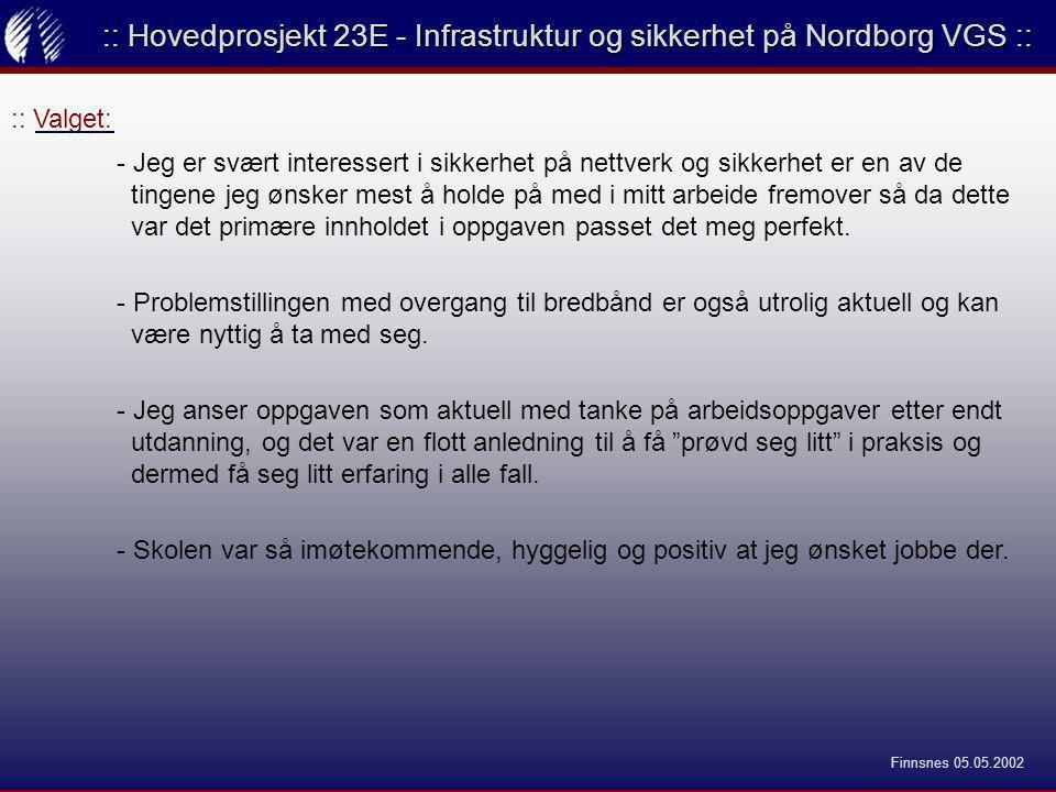 :: Valget: :: Hovedprosjekt 23E - Infrastruktur og sikkerhet på Nordborg VGS :: - Jeg er svært interessert i sikkerhet på nettverk og sikkerhet er en