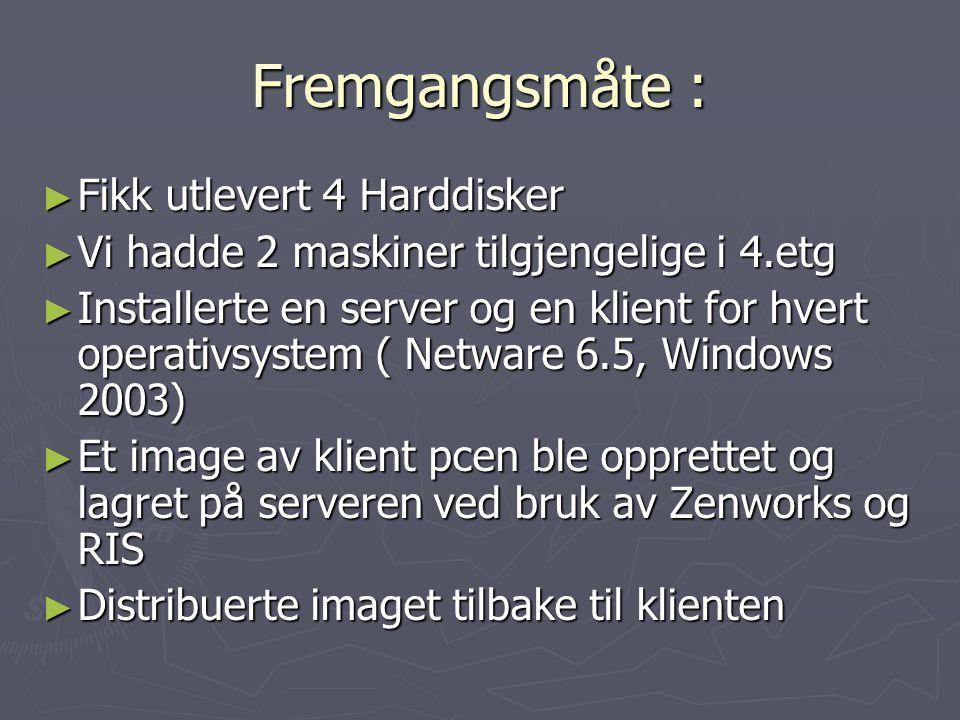 Windows 2003 Server: RESULTAT: ► Windows image- maskinuavhengig ( Inneholder operativsystem og programvare ) ► Script som opprettet 104 brukere med brukernavn,passord,e-post adresse og fullt navn ► AD objektet for brukernavn i windows 2003 heter userPrincipalName ( pre Windows 2000 sAMAccountName ) ► Du kan merke flere brukere og gjøre endringer samtidig