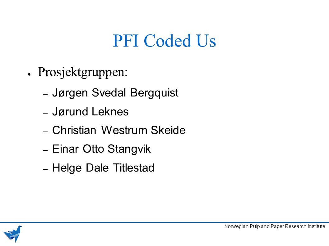 PFI Coded Us Norwegian Pulp and Paper Research Institute ● Prosjektgruppen: – Jørgen Svedal Bergquist – Jørund Leknes – Christian Westrum Skeide – Ein