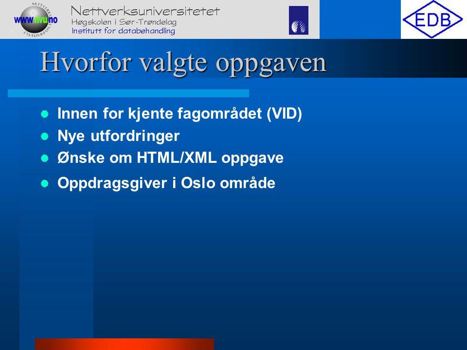 Hvorfor valgte oppgaven Innen for kjente fagområdet (VID) Nye utfordringer Ønske om HTML/XML oppgave Oppdragsgiver i Oslo område